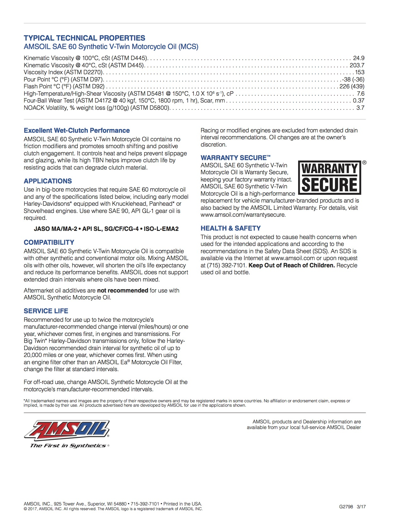 AMSOIL SAE 60 Synthetic V-Twin Motorcycle Oil (MCS)