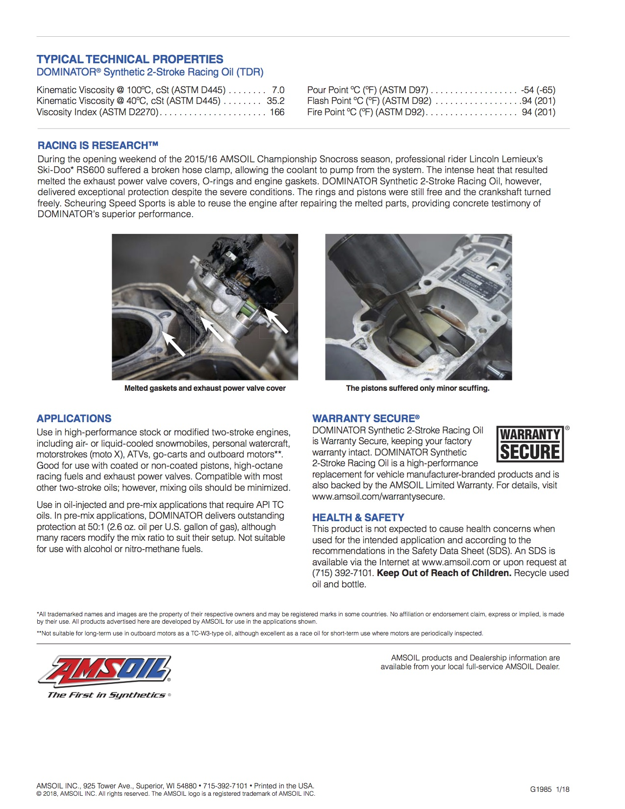 DOMINATOR® Synthetic 2-Stroke Racing Oil (TDR)